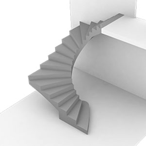 Полувинтовая с забежными ступенями